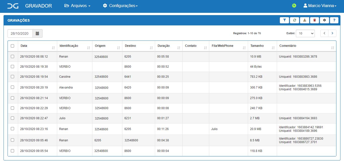 Tela de acesso gravações Cliente Intelicon