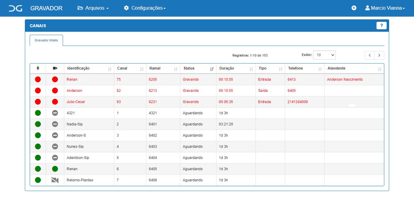Canais de gravação Cliente Intelicon